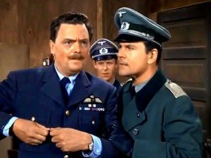 Bernard Fox as Col. Crittendon, left, and Waterbury native Bob Crane as Col. Hogan in a scene from the 1960s' television series,