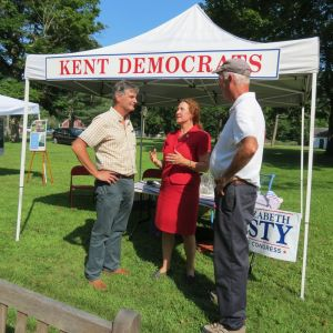 U.S. Rep. Elizabeth H. Esty, D-5th District, visits with Democratic candidate for selectman Christ Garrity, left, and Kent First Selectman Bruce K. Adams during a visit to Kent Festival Days on Friday. Ruth Epstein Republican-American