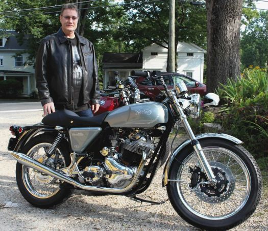 Tom Ordway and his 1973 Norton Roadster. Bud Wilkinson Republican-American