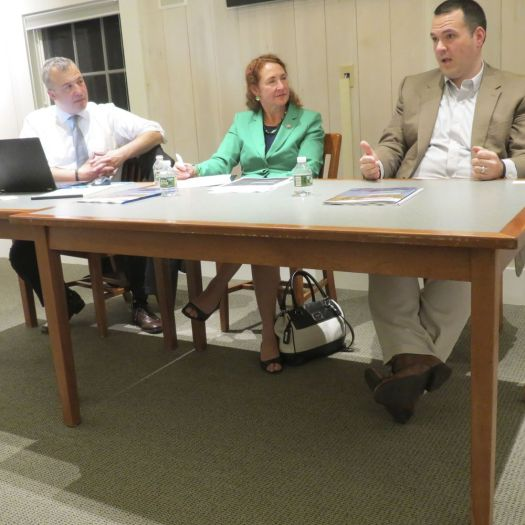 Ruth Epstein Republican-American Jonathan Harris, left, former commissioner of the state Department of Consumer Protection, and U.S. Rep. Elizabeth H. Esty, listen as Jerry Schwab, CEO of High Watch Recovery Center in Kent, talks during a panel discussion about opioid abuse Monday at Cornwall Public Library.