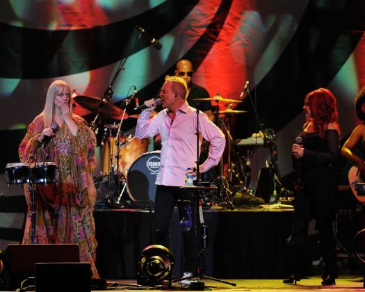From Left Cindy Wilson, Fred Schneider and Kate Pierson of The B 52s perform at the Seminole Hard Rock Hotel and Casinos' Hard Rock Live on August 23, 2012 in Hollywood, Fla. (Photo by Jeff Daly/Invision/AP