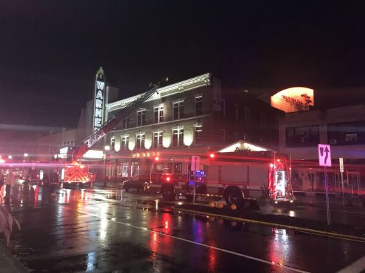 Torrington's Main Street was closed on Sunday night while fire crews worked to figure out the cause of heavy smoke in the Nutmeg Ballet Conservatory. Jacqueline Stoughton/Republican-American