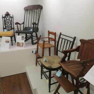 A collection of chairs owned by the Sharon Historical Society is now on display until Dec. 22. The show coincides with the art show in the gallery called