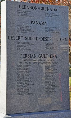 The newest stone at the Kent Veterans Memorial Monument includes the names of all veterans who have served in the Gulf War and the War on Terror. Lynn Mellis Worthington Republican-American