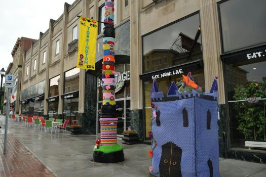Main Street is lined with creativity after Saturday's yarn bomb in downtown Torrington. Amanda Morris/Republican-American