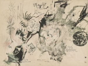 [9]  Jackson Pollock (1912–1956), Untitled [Drawing for P.G.], ca. 1943, pen and black ink and wash, green ink wash, red colored pencil, and orange watercolor pencil © 2017 The Pollock-Krasner Foundation / Artists Rights Society (ARS), New York.