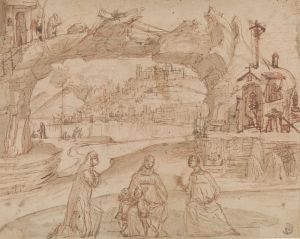 [14]  Vittore Carpaccio (1455? - 1525?), Virgin and Child with Saints in a Landscape, ca. 1500–1510, pen and brown ink and wash over red and black chalk, Thaw Collection, The Morgan Library & Museum, 2006.46. Photography by Steven H. Crossot.