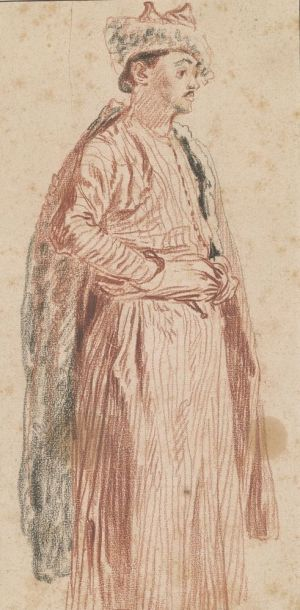 [5]  Antoine Watteau (1684–1721), A Member of the Persian Embassy, 1715, red and black chalk, Thaw Collection, The Morgan Library & Museum, 2000.54. Photography by Steven H. Crossot, 2014.