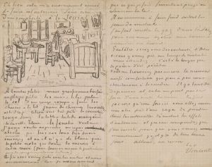 [8]  Vincent van Gogh (1853–1890), Letter to Paul Gauguin, 17 October 1888, with a sketch of Bedroom at Arles, pen and brown ink on graph paper, Thaw Collection, The Morgan Library & Museum, MA 6447. Given in honor of Charles E. Pierce, Jr., 2007. Photography by Graham S. Haber, 2016.