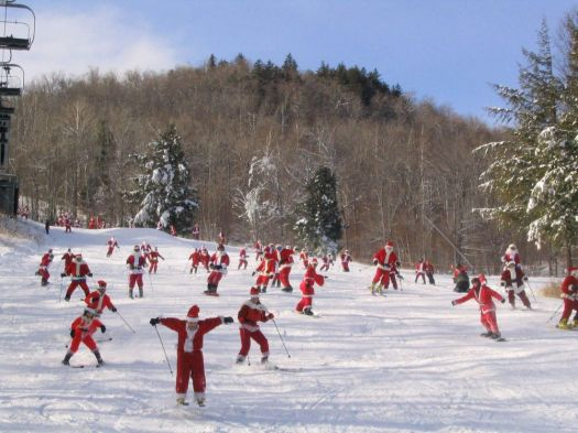 If one Santa skiing doesn't make you smile, how about 250? That's what you get on Santa Sunday at Sunday River in Maine. (Tim Jones/EasternSlopes.com photo)