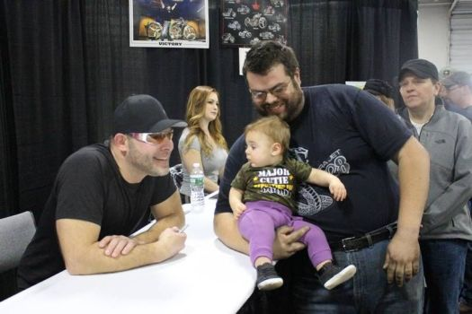 Paul Teutul Jr., left, poses for a picture with fans at the Springfield Motorcycle Show in January. BUD WILKINSON REPUBLICAN-AMERICAN