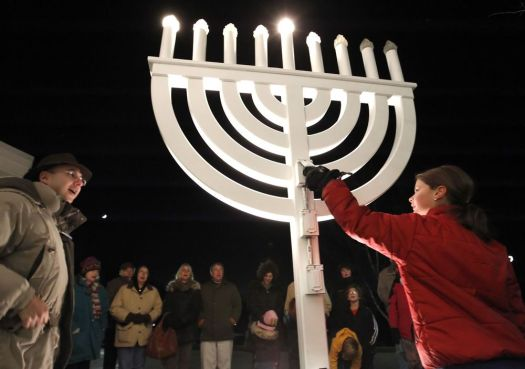 Lighting of the menorah at B'Nai Israel of Southbury in 2010. Republican-American archives