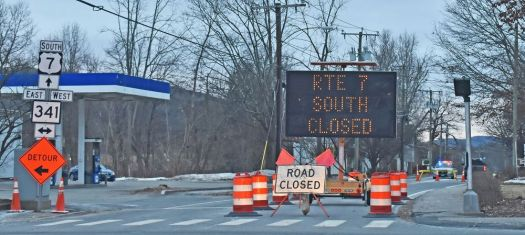 Route 7 remains closed in Kent due to the frozen Housatonic River covering the road in several places. Town officials declared a state of emergency Monday. Lynn Mellis Worthington Republican-American