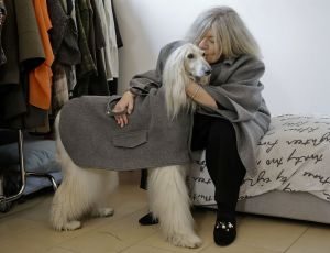 In this image taken on Thursday, Jan. 11, 2018, designer Giovanna Temellini kisses her dog Ulisse, an Afghan greyhound, wearing a winter coat created by Ms. Temellini, at the Temellini manufacture headquarters, in Milan, Italy. Milan has long been known for its pret-a-porter. Now the pooches want in with a new line of haute couture for canines: Temellini Dog a Porter. (AP Photo/Luca Bruno)