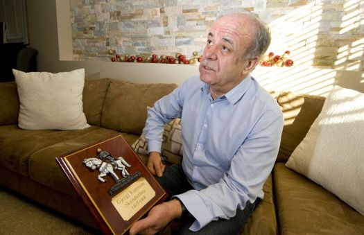 Tasim Tasimi of Naugatuck, pictured Wednesday at his home, shows some pewter replicas of Skanderbeg he made as a tribute to the Albanian national hero who died 550 years ago.Jim Shannon Republican-American