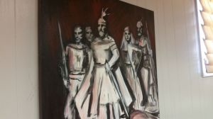 This painting of Skanderbeg is displayed in the hall of the Albanian American Muslim Community center on Taymond Street in Waterbury. Michael Puffer Republican-American