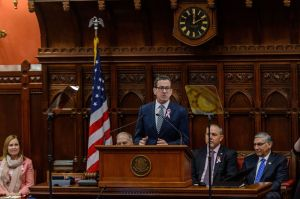 HARTFORD, CT. 07 February 2018-020718BS - Governor Dannel Malloy gives the state of the state address at the state capital in Hartford on Wednesday. Bill Shettle Republican-American