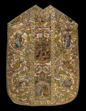 Chasuble of Cardinal Alessandro Farnese, ca. 1575-1589. Embroidered silk with gold and silver threads. Contributed