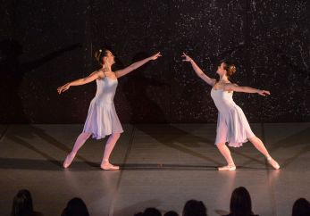 From left, Elizabeth Cook and Lydia Davidowitz perform a ballet routine Sunday in Westover School's Dance Program concert at the school's Middlebury campus.Bill Shettle Republican-American