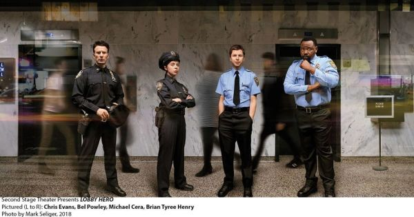 Mark Seliger Chris Evans, left, Bel Powley, Michael Cera and Bran Tyree Henry star in the Kenneth Lonergan play 'Lobby Hero,' which begins previews on Thursday at Broadway's Helen Hayes Theatre.