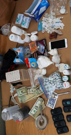 Items, including drugs and cash, seized by Watertown Police during an arrest of Jonathan Oakley of Waterbury. Contributed