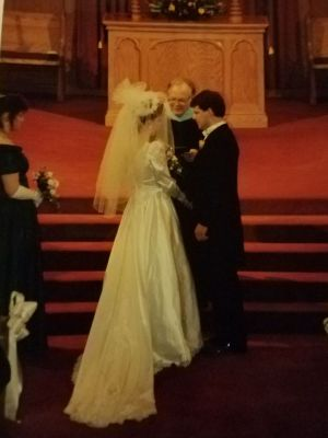 A record 20 inches of snow fell on March 13, 1993, when Stephen and Heather Fisher got married at Center Congregational Church in Torrington. The late Rev. Raymond Shoup presided over the ceremony. The Fishers invited 75 to 100 people. Only about 15 were able to attend. Contributed