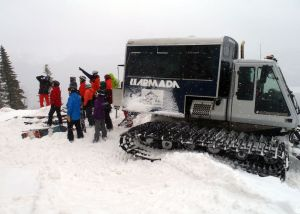 Quebec Cat Skiing. This photo was taken in Quebec last spring, but you can now go Cat skiing at Sugarloaf in Maine. No passport needed! (Tim Jones/EasternSlopes.com photo)