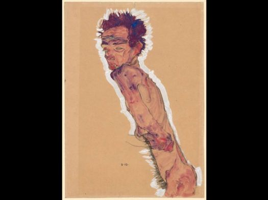 Egon Schiele's 'Nude Self-Portrait' (1910) is part of the Klimt and Schiele: Drawn exhibit at the Museum of Fine Arts, Boston, through May. Contributed