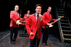 Corey Greenan, left, Tommasso Antico, Jonny Wexler and Chris Stevens perform 'Sherry' in the touring company of 'Jersey Boys,' which comes to the Palace Theater in Waterbury on Friday and Saturday. Contributed