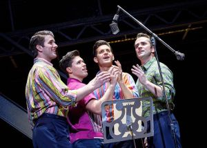 Chris Stevens, left, Corey Greenan, Jonny Wexler and Tommasso Antico do a recording studio scene in the touring company of 'Jersey Boys,' which comes to the Palace Theater in Waterbury on Friday and Saturday. Contributed