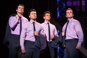 Chris Stevens, left, Jonny Wexler, Tommasso Antico and Corey Greenan perform 'My Eyes Adored You' in the touring company of 'Jersey Boys,' which comes to the Palace Theater in Waterbury on Friday and Saturday. Contributed