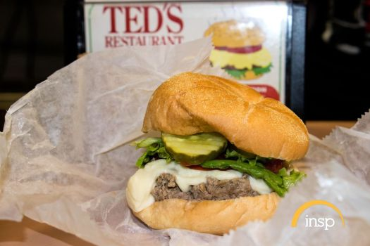 A classic steamed cheeseburger from Ted's Restaurant in Meriden.