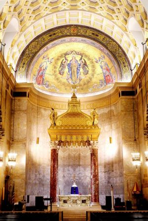 The baldachino around the altar and mosaics at the Basilica of the Immaculate Conception in Waterbury have been recently conserved and cleaned by the John Canning Co. of Cheshire, just in time for Easter. Photos by Steven Valenti Republican-American