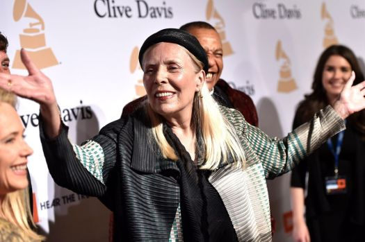Joni Mitchell arrives at the 2015 Clive Davis Pre-Grammy Gala at the Beverly Hilton Hotel on Saturday, Feb. 7, 2015, in Beverly Hills, Calif. (Photo by John Shearer/Invision/AP)