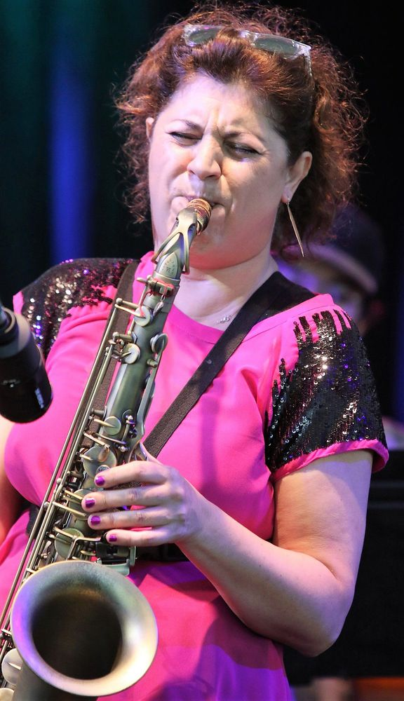 GOSHEN, CT - 5 August 2017 - 080517JM02 - Ada Rovatti, leader of the Ada Rovatti Quartet, plays saxophone as her group opens the Litchfield Jazz Festival at the Goshen Fairgrounds on Saturday. John McKenna Photo