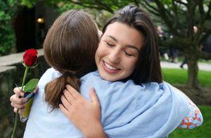 WASHINGTON CT. 28 May 2018-052818SV01- Gabby Lescadre, 17, of Bethlehem hugs a friend during graduation ceremonies at The Gunnery School in Washington Monday. Steven Valenti Republican-American