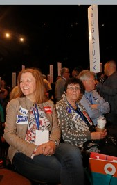 Naugatuck delegates (from Left) Michele Russell, former mayor Joan Taf and Kevin Knowles await the results of the gubernatorial nomination at the 2018 Connecticut Democratic Convention in Hartford Saturday afternoon. Michael Kabelka / Republican-American.