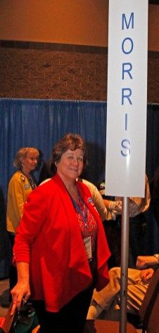 Morris delegate Bridget Garrity at the Connecticut Democratic Convention in Hartford Saturday afternoon. Michael Kabelka / Republican-American.