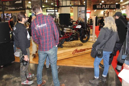 02_060218BW10 Riders attending the Progressive International Motorcycle Show in New York last December admired a one-off Indian Scout FTR1200. Bud Wilkinson Republican-American