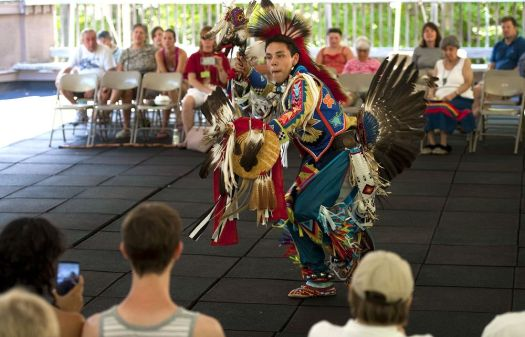 In this 2015 archive photo, Gary Lamb, a member of the Schaghticoke Tribal Nation, dances a men's northern traditional dance during an Inter-Tribal Powwow at the annual Green Corn Festival at the Institute for American Indian Studies and Museum in Washington, Conn. The festival is a celebration of thanks to Grand-Mother Earth for her endless bounty.  (Jim Shannon Republican-American)