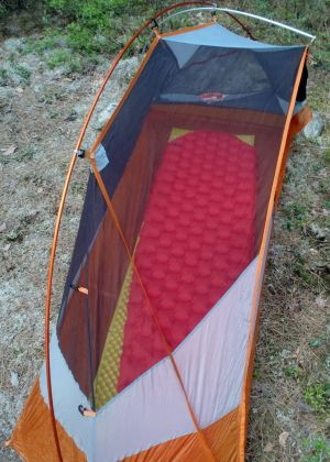 A solo tent and two sleeping pads to go under your sleeping bag make for a comfortable backpacking getaway. (Tim Jones/EasternSlopes.com photo)