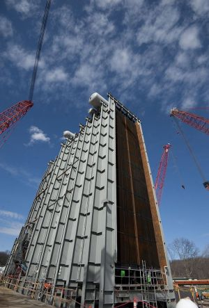 Work on the construction of the CPV Towantic Energy Center in Oxford in March 2017. Republican-American archive