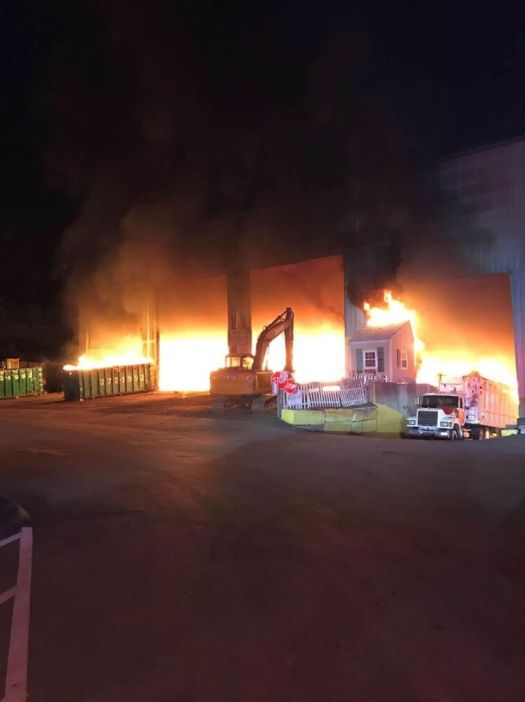 A fire tore through AJ Waste Systems in Cheshire on Monday night. Contributed