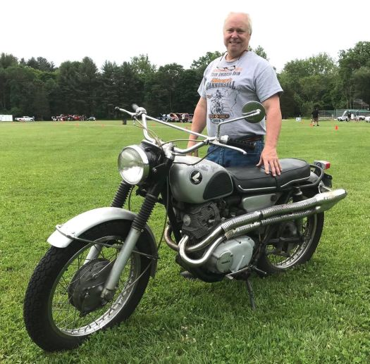Jim Sims of Southbury and his 1967 Honda Scrambler. (Bud Wilkinson Republican-American)