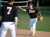 Oakville's Cam Defeo (3) throws to teammate Robert Johnson (7) for the out during their Zone 5 American Legion game against Naugatuck Tuesday at the Taft School in Watertown. Jim Shannon Republican American