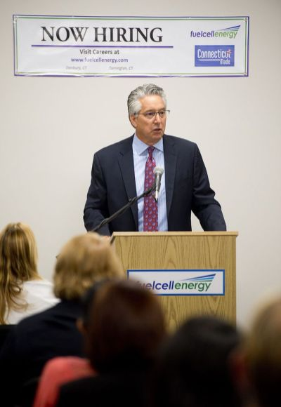 Chip Bottone, President and CEO of FuelCell Energy, Inc., announced the company will be adding more than 100 manufacturing jobs in Torrington during an open house Wednesday at their facility in Torrington. Jim Shannon Republican-American