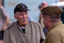 TORRINGTON, CT. 28 July 2018-072818BS12 - Alan Crane of Northford, right talks to a real living hero Edwin C Bearss, 95, who is a WW II veteran and was wounded at Suicide Creek in 1944, during the at the WW I Living History Day at the Torrington Historical Society in Torrington, CT on Saturday afternoon. Bill Shettle Republican-American