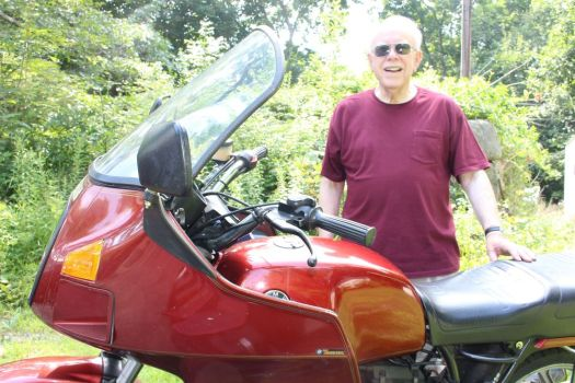 Jack Potter of Torrington and the 1987 BMW R 80 RT that he sold this week after 16 years of ownership.