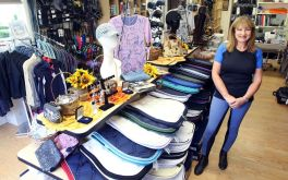 Carol DiCarlo, owner of the new Cheshire Equestrian Center, offers a large variety of goods for horses and riders at her shop in Cheshire.Steven Valenti/Republican-American