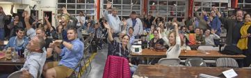 The 184 contestants at the annual Kent Quiz Night react during the competition at the Kent firehouse on Saturday evening. The fundraising event benefited Kent Memorial Library. Lynn Mellis Worthington Republican-American